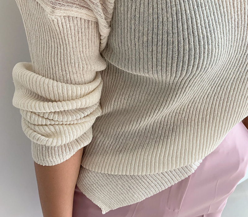 See-through natural knit