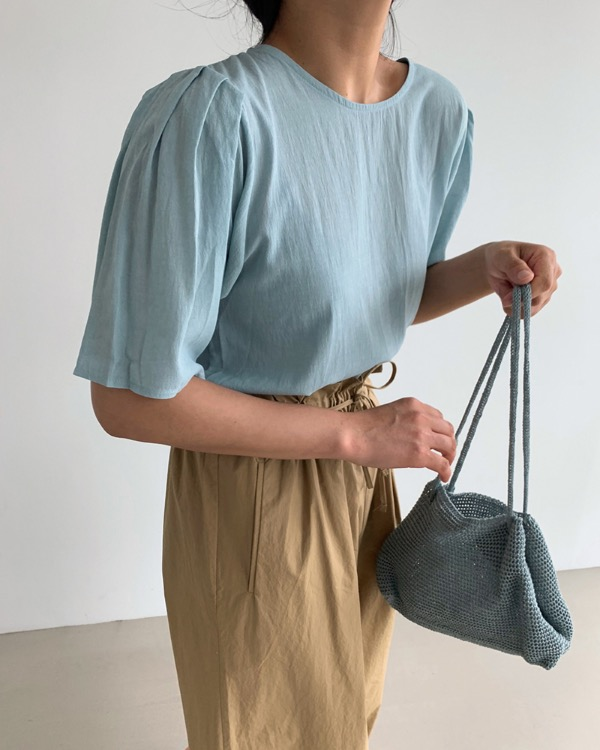 Mint shirring blouse