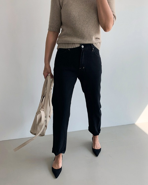 Stitch point black pants