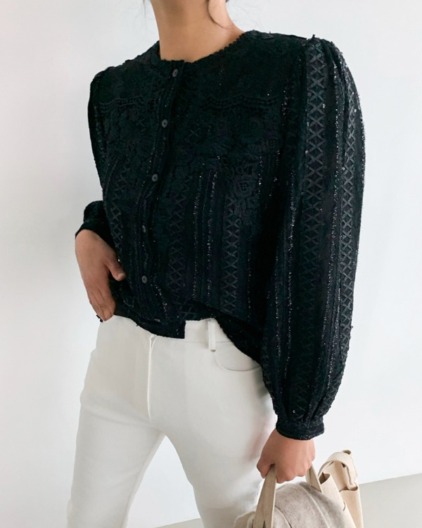 Sequin puff blouse