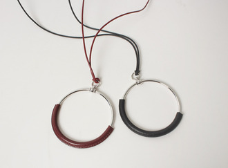 Leather cover ring necklace
