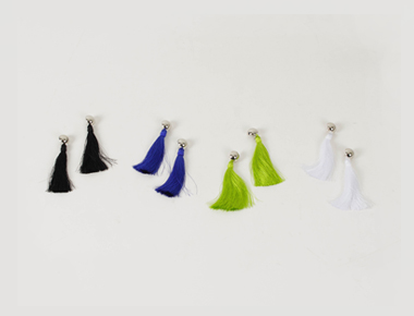 Colorful tassel point earring