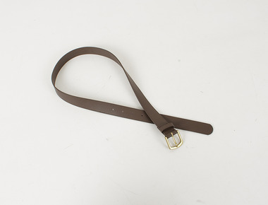 Golden leather brown belt
