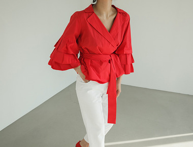 Can-can wrap blouse