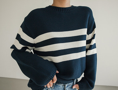 Cotton line pullover knit