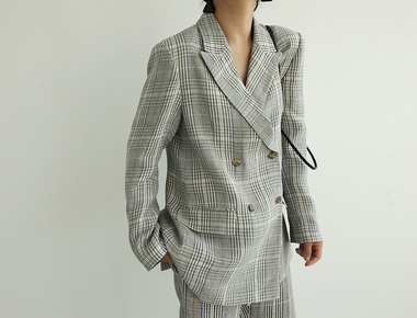 Nasu check linen jacket