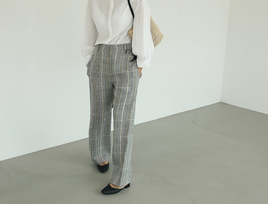 Nasu check linen pants