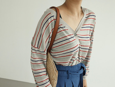 Color stripe cardigan