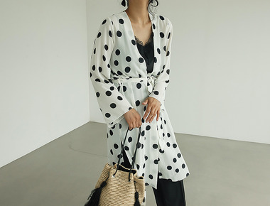 Beach dot robe cardigan