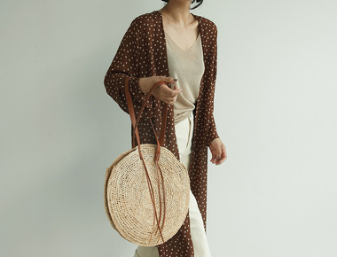 Dot see through robe cardigan