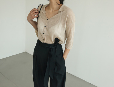See through collar crop knit