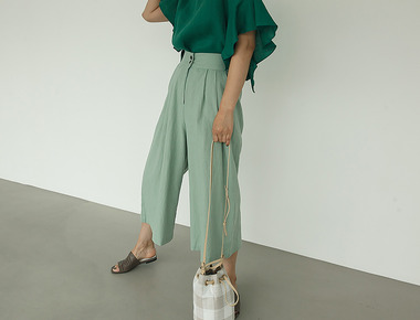 Linen high wide pants