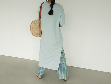 Long slit casual dress