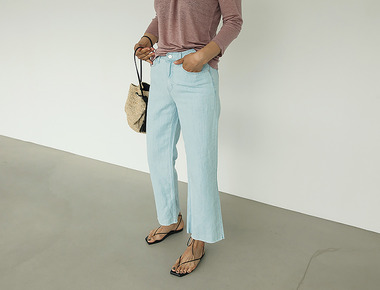 Ice blue wide denim pants