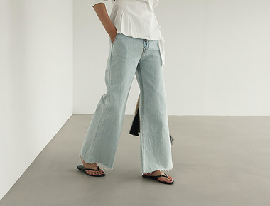 Double obi denim pants