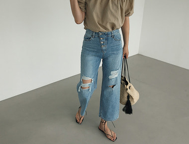 Over button vintage denim pants