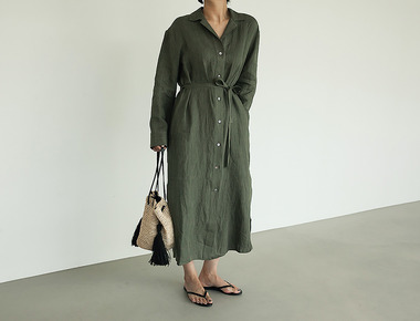 Low linen khaki dress