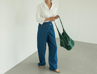 Ssum wrap denim pants
