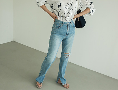 Long slit denim pants