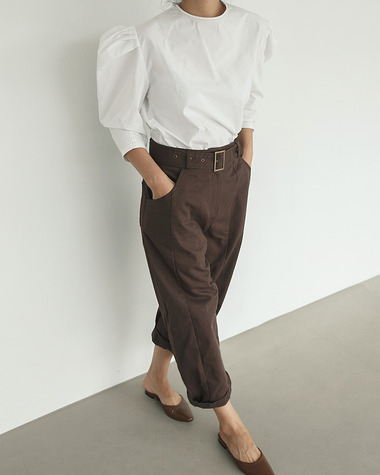 Peter cotton belt pants