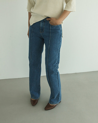 Pintuck blue denim pants