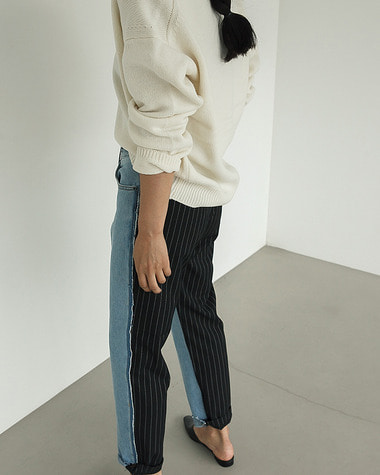 Stripe color denim pants