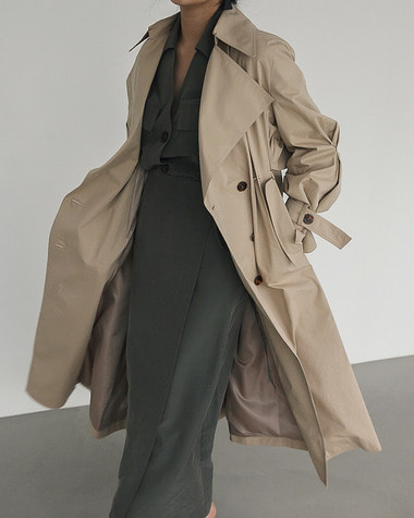 Waist pintuck trench coat