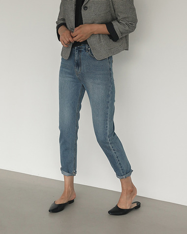 Back slit denim pants
