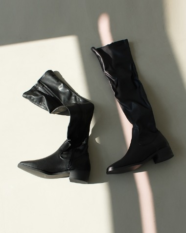W377 Square black long boots