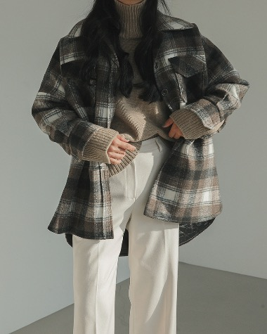 Wool check shirts jacket