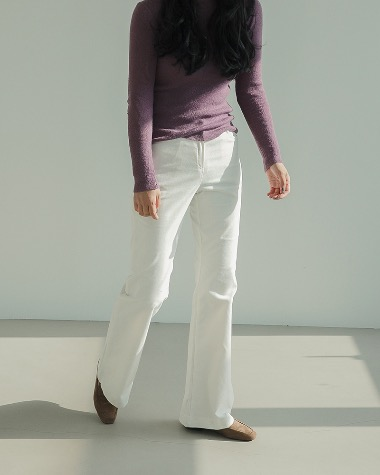 Rib boot cut pants