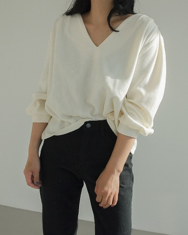 Terry V neck blouse