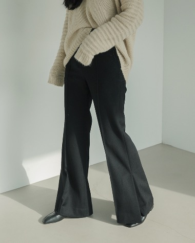 Cashmere black slit pants