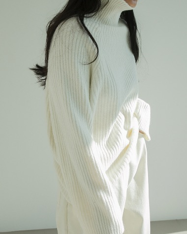 Terry high neck knit