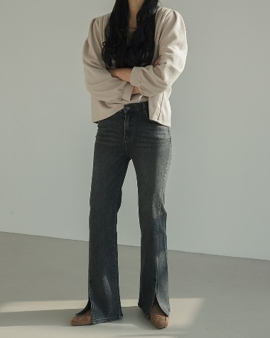 Ruby slit denim pants