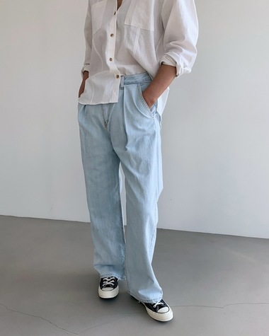J pintuck denim pants