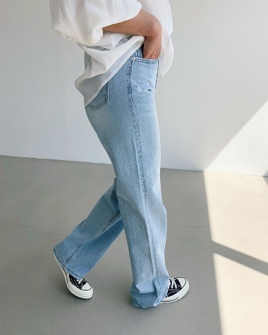 Wide light denim pants
