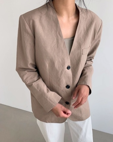 Linen no collar jacket