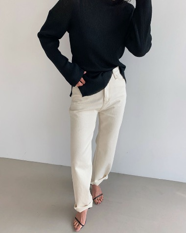 Beige denim pants
