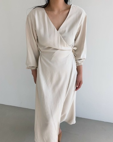 Wrap V slit dress