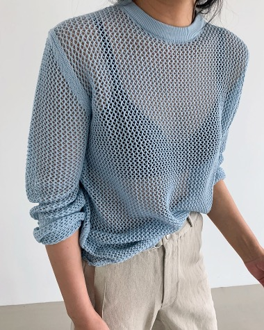 Mesh pullover knit