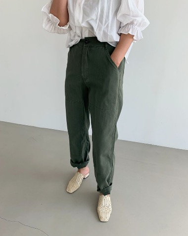 With buckle pants