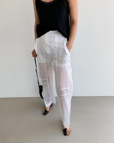See-through line pants