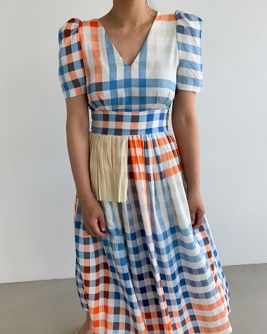 Lisa color check dress
