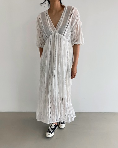 V lace long dress
