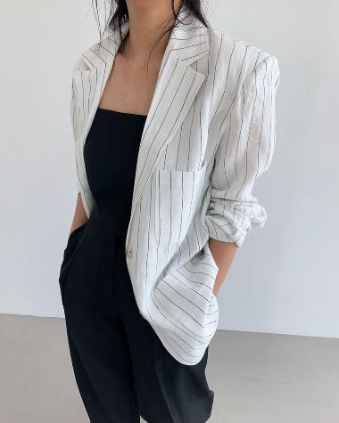 Linen stripe over jacket
