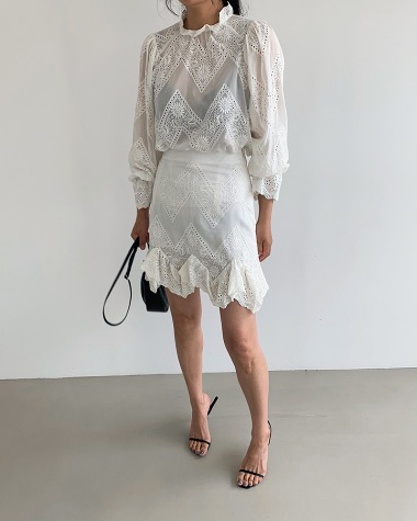 Silk lace blouse,skirt