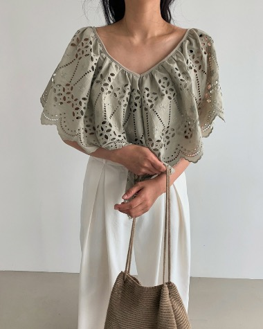 Lace wing blouse