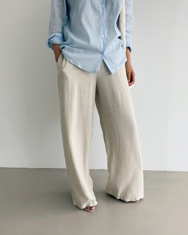 Linen banding wide pants