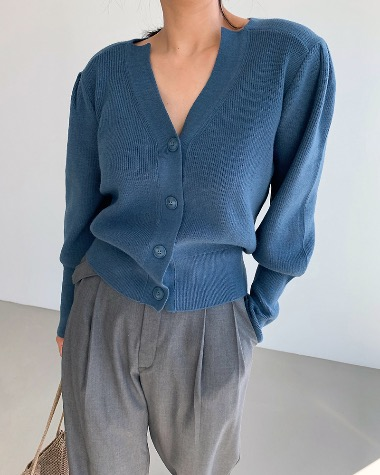 Puff button cardigan